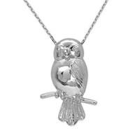Ariş Pırlanta Baykuş Gümüş Kolye