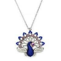 Beyazıt Takı 925 Ayar Gümüş Mavi Taşlı Tavus Kuşu Kolyesi