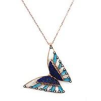 Beyazıt Takı 925 Ayar Gümüş Üç Boyutlu Mine Mavi Taşlı Kelebek Kolyesi