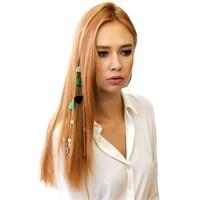 Chiccy Altın Zincirler Yaprak Objeli Yeşil Siyah Püsküllü Pullu Saç Aksesuarı