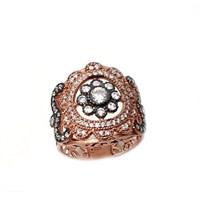 Nusret Takı 925 Ayar Gümüş Rose Renkli Zirkon Taşlı Yüzük