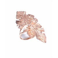 Nusret Takı 925 Ayar Gümüş Yaprağı Rose Renkli Yüzük