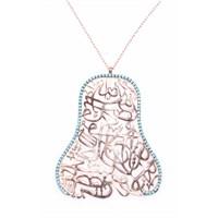 Nusret Takı 925 Ayar Rose Gümüş Turkuaz Taşlı Arapça Yazı Desenli Uzun Kolye