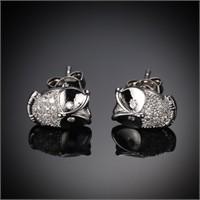 Betico Fashion Gümüş Kristal Taşlı Baykuş Küpe