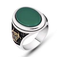 Mina Silver Teşkilat Mit Yeşil Taşlı Gümüş Erkek Yüzük