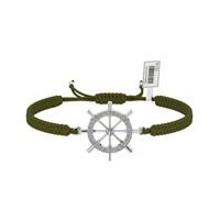 Diamood Jewelry Beyaz Altın Kaplama Gümüş Makrome Örgü Dümen Bileklik