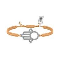 Diamood Jewelry Beyaz Altın Kaplama Gümüş Makrome Örgü Fatma Ana Eli Bileklik