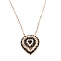 Nusret Takı 925 Ayar Gümüş Nazar Kalp Kolye Pembe - Siyah Beyaz Taş