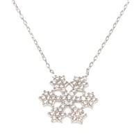 Nusret Takı 925 Ayar Gümüş Yıldız Kar Tanesi Kolye Beyaz - Beyaz Taş
