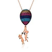 İndigo Takı Büyük Renkli Balonlu Çocuk Gümüş Kolye