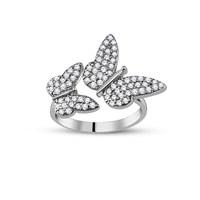 Tesbihane Gümüş Kelebek Tasarım Yüzük