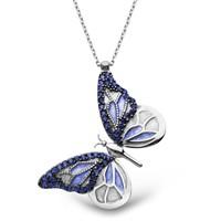 Tesbihane 925 Ayar Gümüş Mavi Kelebek Kolye