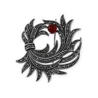 Tesbihane 925 Ayar Gümüş Çiçek Demeti Broş