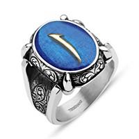 Tesbihane Mavi Mine Üzerine Elif Harfli 925 Ayar Gümüş Oval Yüzük