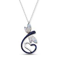 Tesbihane 925 Ayar Gümüş Mavi Zirkon Taşlı Kalpli Yusufçuk Kolye