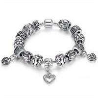 Angemiel Angemıel Gümüş Ve Tonları Kalp Charm Bileklik