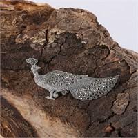 Sanal Kuyumculuk 925 Ayar Gümüş Tavus Kuşu Model El İşçiliği Broş