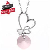 Bayan Lili Antique Pink Gümüş Kalp Kolye