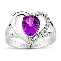 Bella Gloria 925 Ayar Gümüş Üzeri Altın Kaplamalı Pırlanta Damla Ametist Kalp Yüzük (GPY0006)
