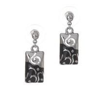 Bigg Lepha Çift Renk Küpe-Siyah Gümüş
