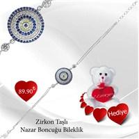 Gumush 925 Zirkon Taşlı Nazar Boncuğu Bileklik Br0460193