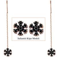 Tesbihane 925 Ayar Gümüş Siyah Zirkon Taşlı Kar Model Japon Sallantılı Küpe