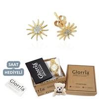 Glorria Altın Güneş Küpe - Hediye Seti - Cm0183-Hs