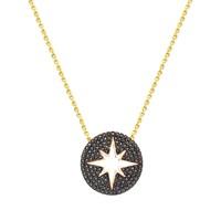Melis Gold Altın Taşlı Yıldız Kolye Kly00918