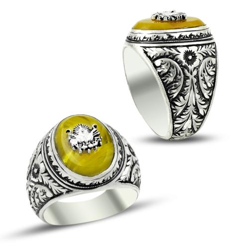 Anıyüzük Erzurum El İşi Sıkma Kehribarlı Osmanlı Armalı Gümüş Yüzük