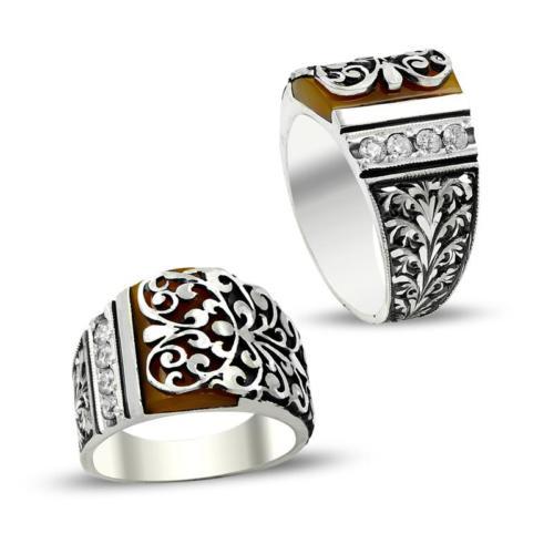 Anıyüzük Erzurum El İşi Kalem İşçilikli Sıkma Kehribar Gümüş Yüzük