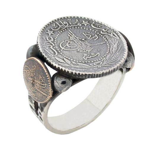 Chavin Osmanlı Tuğrası Antik Gümüş Erkek Yüzük ce68