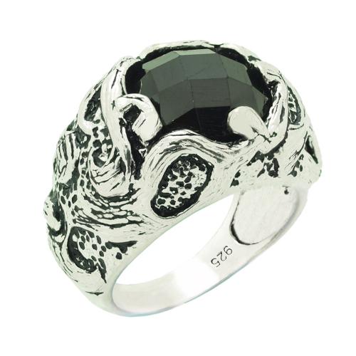 Chavin Siyah Zirkon Taşlı Gümüş Erkek Yüzük cm57