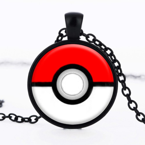 Pokemon Siyah Kırmızı Rengi Metal Kolye dg33