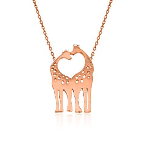 İndigo Takı Rose Sade Çift Zürafa Gümüş Kolye