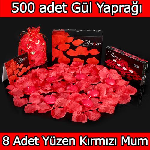 Chavin 500 Adet Gül Yaprağı, Gül Yaprakları,8 Kırmızı Mum yap5