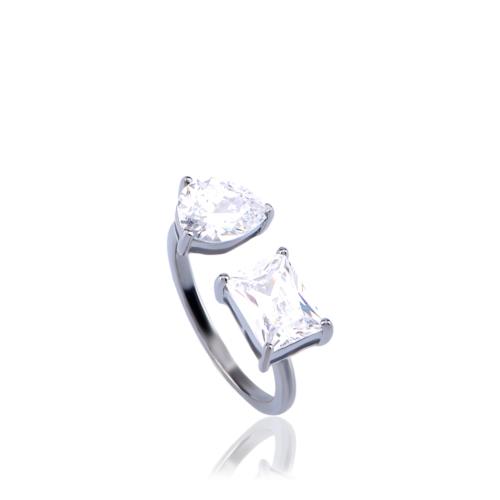 Coşar Silver İki Taşlı Gümüş Yüzük