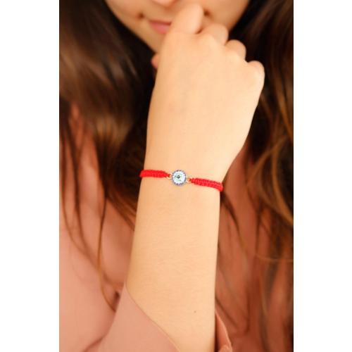 Çınar E-Ticaret Kırmızı İp Tasarımlı Mavi Taşlı Kadın Bileklik Modeli