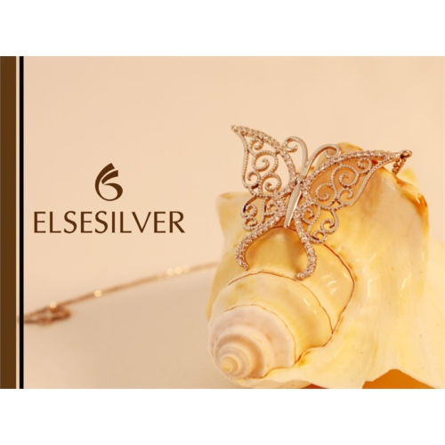 Else Silver Rose Kelebek Kolye