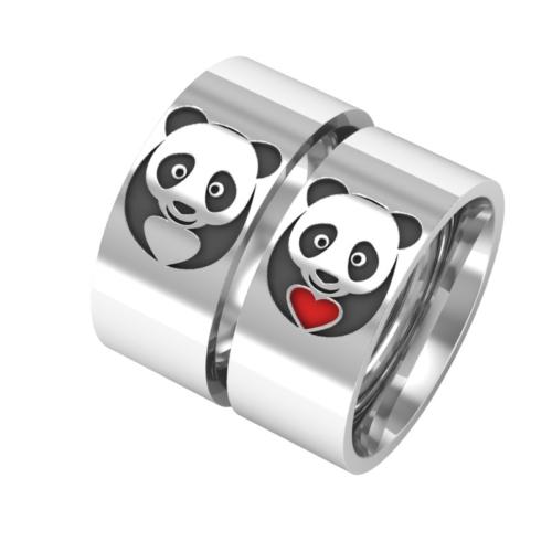 Ashyl Panda Gümüş Alyans, Panda ve Kalp Alyans