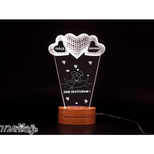 7/24 Hediye Sevgiliye Hediye 3 Kalpli 3D Led Lamba Gece Lambası