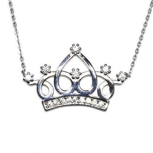 Zirkon Taşlı Gümüş Kolye Prenses Tacı T003