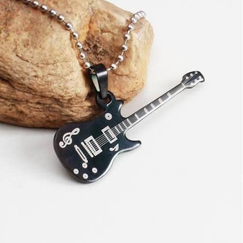 Takıcadde Gitar Sembol Paslanmaz Çelik Kolye