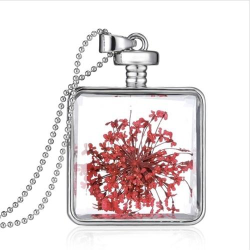Güven Altın Yaşayan Kolye Kristal Cam İçinde Kurutulmuş Çiçekler Yk36
