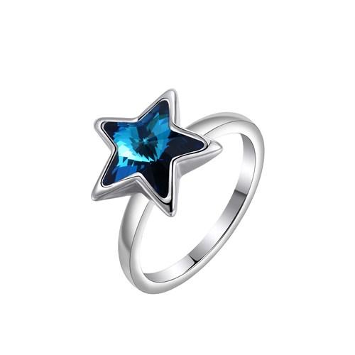 Monemel Mavi Swarovski Taşlı Yıldız Yüzük - R0126