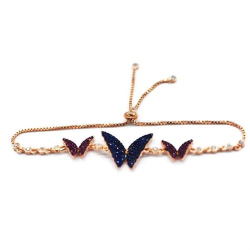 Beyazıt Takı 925 Ayar Gümüş Mavi Pembe Kelebek Bileklik