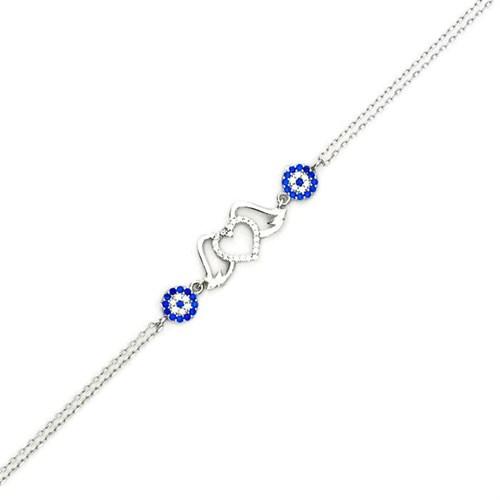 Beyazıt Takı 925 Ayar Gümüş Nazar Boncuklu Kanatlı Kalpli Bileklik