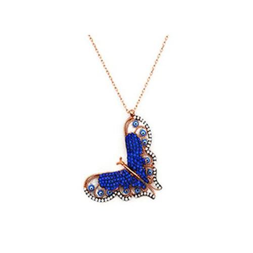 Beyazıt Takı 925 Ayar Gümüş 3 Boyutlu Mavi Taşlı Kelebek Kolye
