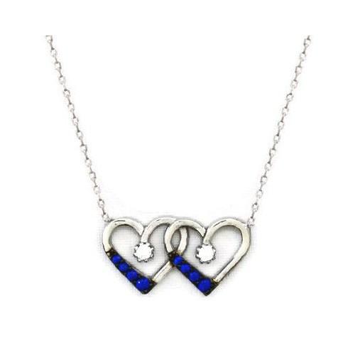 Beyazıt Takı 925 Ayar Gümüş Mavi Zirkon Taşlı Çift Kalp Kolye