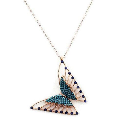 Beyazıt Takı 925 Ayar Gümüş Turkuaz Mavi Taşlı Üç Boyutlu Kelebek Kolyesi