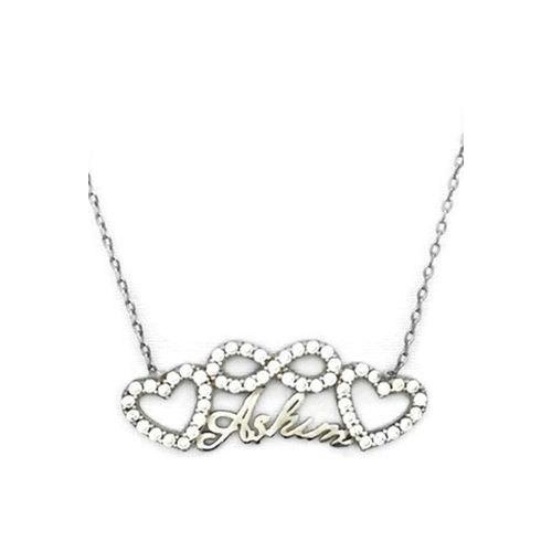 Beyazıt Takı 925 Ayar Gümüş Beyaz Taşlı Sonsuzluk Kalpli Aşkım Kolyesi